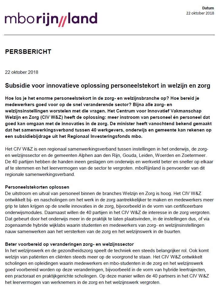 persbericht MBORijnland