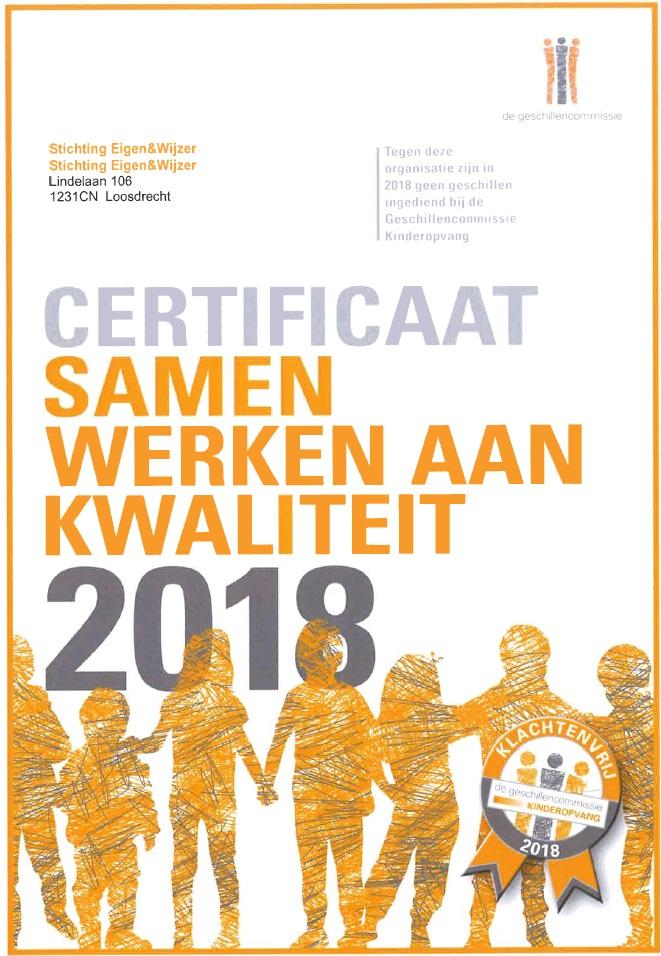 Certificaat samenwerken aan kwaliteit 2018