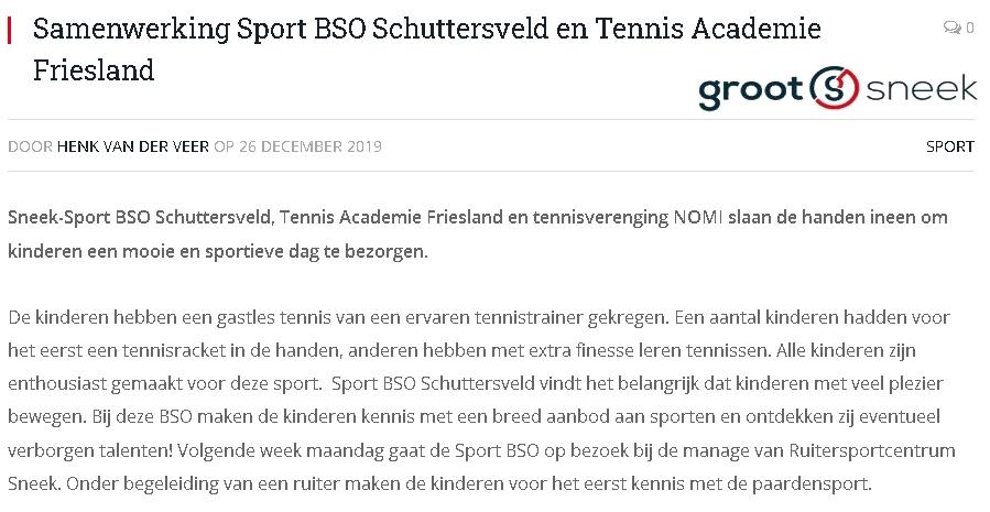 GrootSneek Sport BSO samenwerking tennis